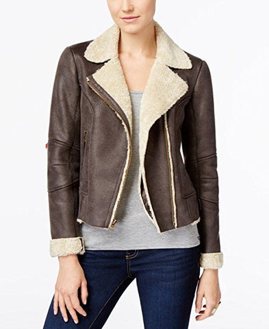 Lucky Brand Womens Brown Faux-Shearling Bomber Jacket