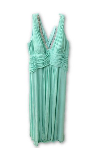 Marina Women's Turquoise Beaded V-Neck Pleat Mesh Gown 22W NWT