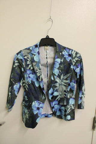 Ecru Women's Blue Rainforest Print Fitted Jacket, Size 2