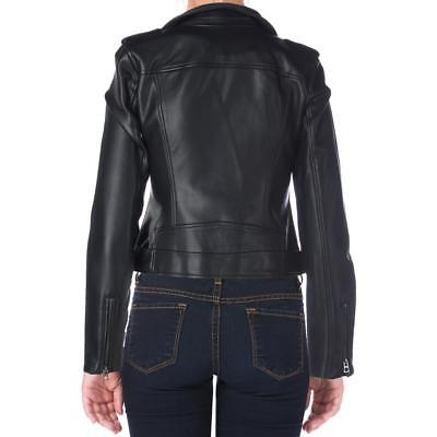 Lucky Brand Women's Black Faux Leather Bonded Motorcycle Jacket