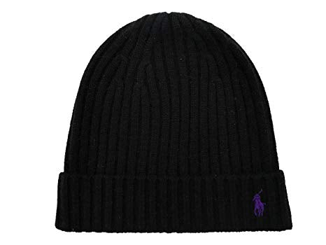 Ralph Lauren Men's black Cashmere Wool Black Beanie Hat