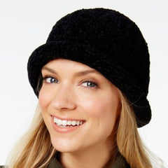 August Hats Women's Chenille Roll-Up Hat,Black