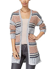 Hippie Rose Juniors' Striped Open Front Cardigan (Large)