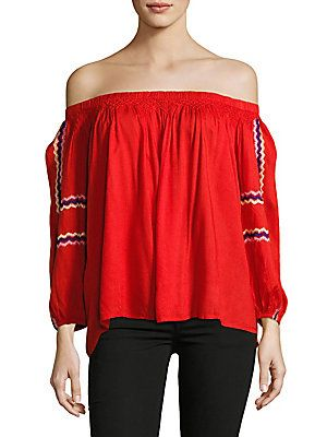 Kas New York Women's Red Bardot Blouse with Embroidery, Size S