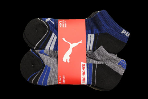 PUMA Men's Gray/Blue Low Cut 6-Pack Socks, Size 6-12