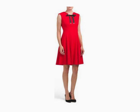KARL LAGERFELD Paris Fit & Flare Red Cocktail Dress Black Bow, NWT, $128