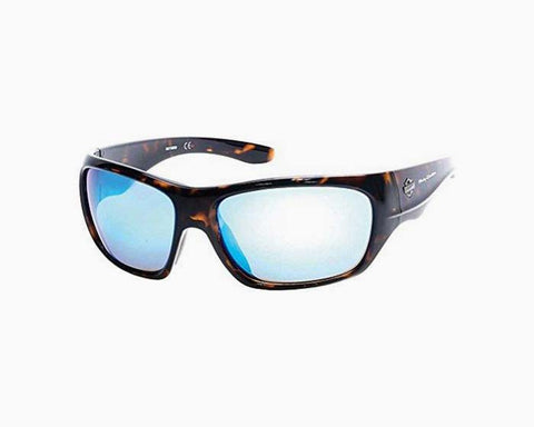 Harley-Davidson Men's Injected B&S Sunglasses, Tortoise Frames & Blue Flash Lens