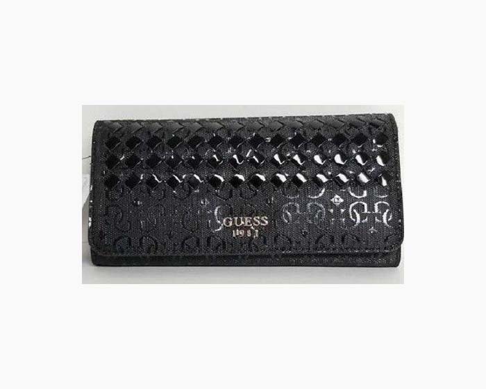 Guess Black Flutter Logo Embossed Signature SLG Large Wallet Clutch NWT