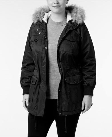 Levi's Women's Black Plus Size Faux-Fur Hooded Parka, Size 1X
