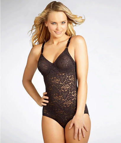 Bali BLACK Lace 'N Smooth Firm Control Bodysuit, US 38DD, UK 38DD