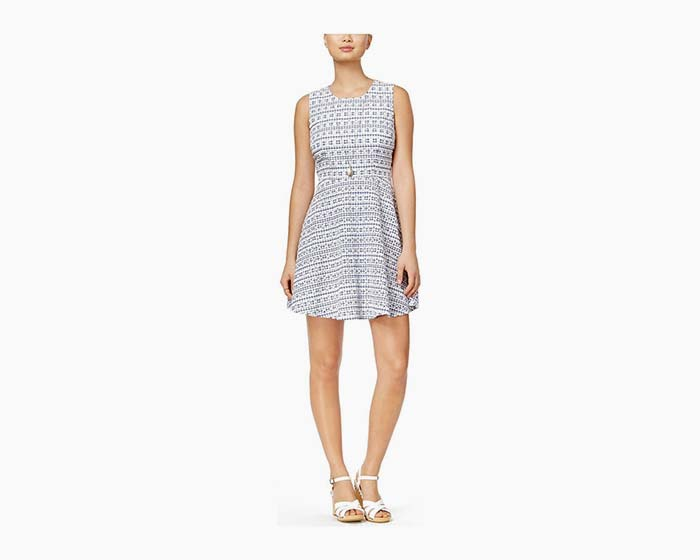 Maison Jules Womens Gingham Fit & Flare Cocktail Dress blue/white NWT