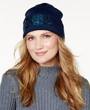 Steve Madden Womens Chill Cuff Beanie Hat Blue One Size