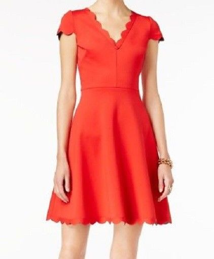 Betsey Johnson Red Womens Scalloped-Hem V-Neck A-Line Dress $148, 6, NEW
