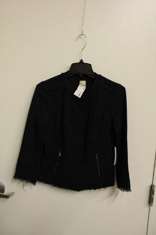 Ecru Women's Black Cotton Tweed Jacket Size 2 NWT