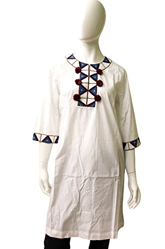 Fique Figue Cotton Tunic With Beaded Highlights, Size M, White