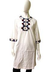 Fique Figue Cotton Tunic With Beaded Highlights, Size S, White