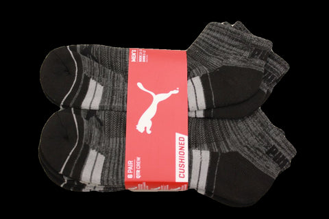 Puma Men's 6 Pack Quarter-Crew Sport Socks, Black Traditional, Sock Size 10-13
