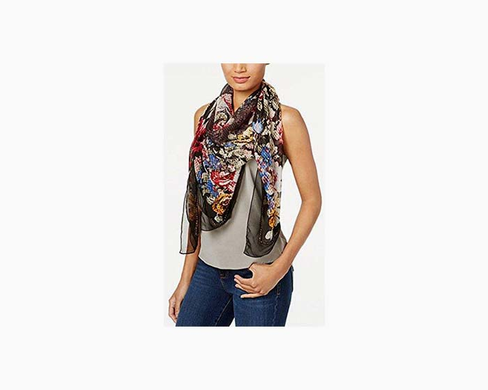 INC International Concepts Women's Oversized Beaded Floral Scarf
