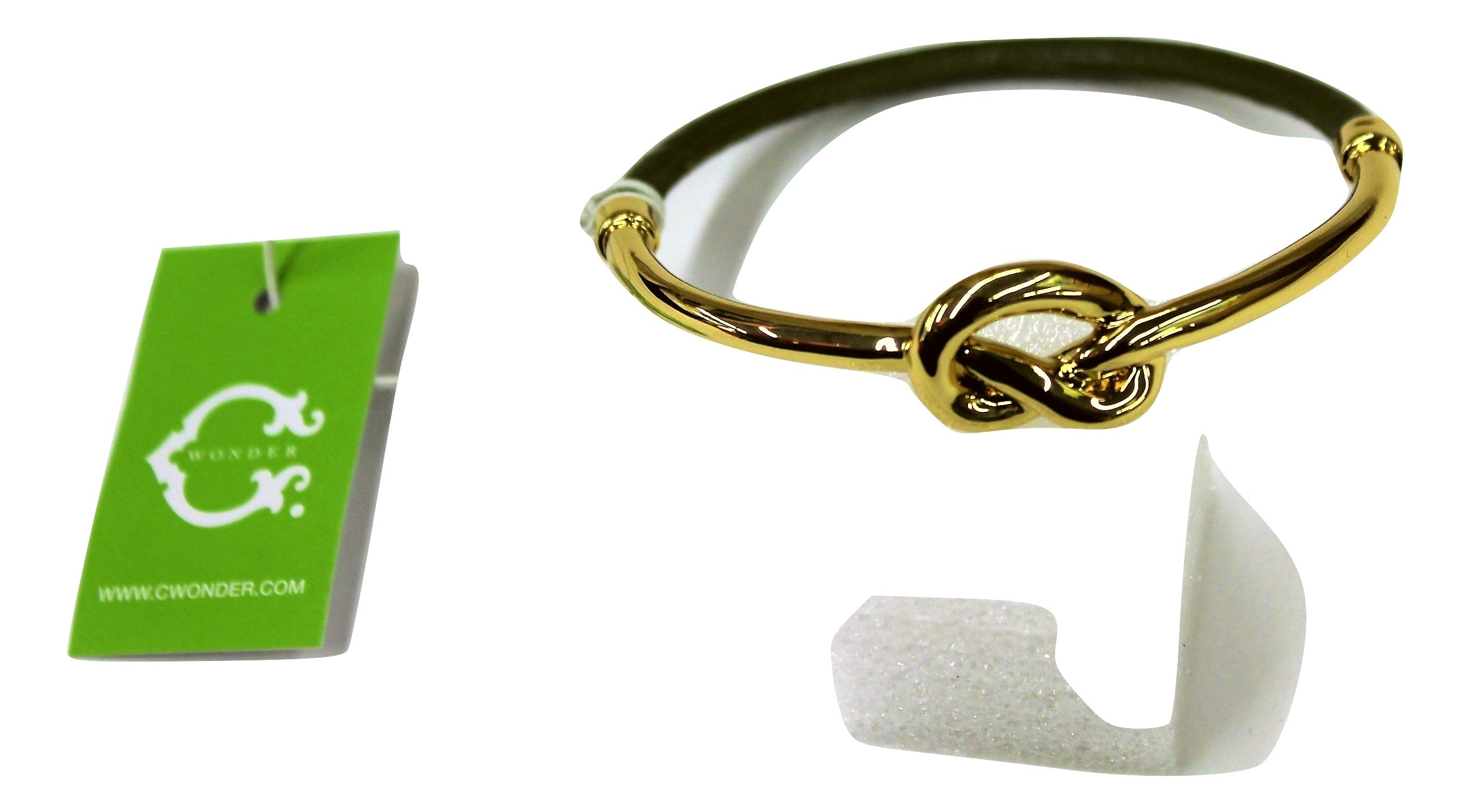 C Wonder Leather Knot Bangle, Gold/Green