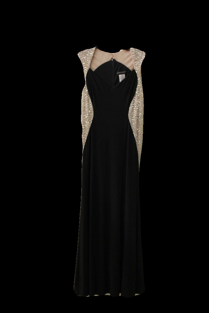 Cachet Womens Black and Gold Dress Gown, Size 6