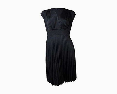 Soprano New Black V-Neck Cap-Sleeve Dress 2Xl $79 DBFL