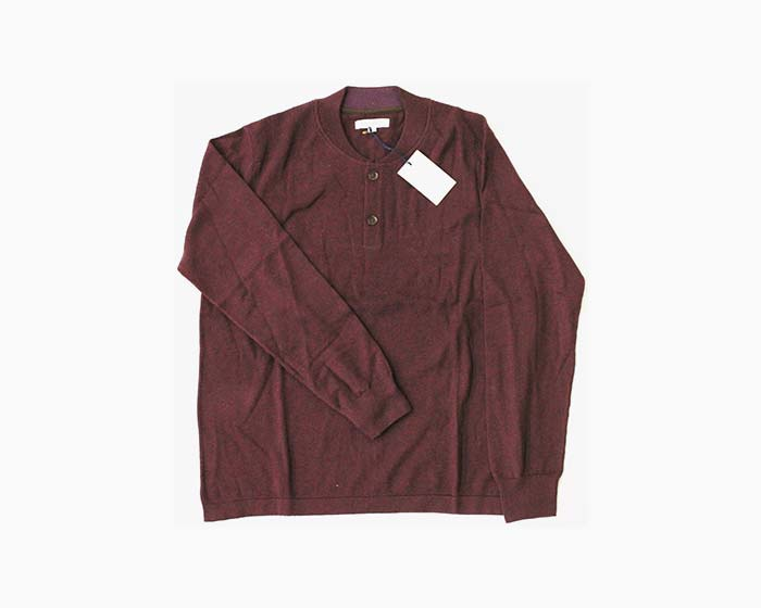 ALEX CANNON Men's 1/4 Button Sweater, Size M, Wine