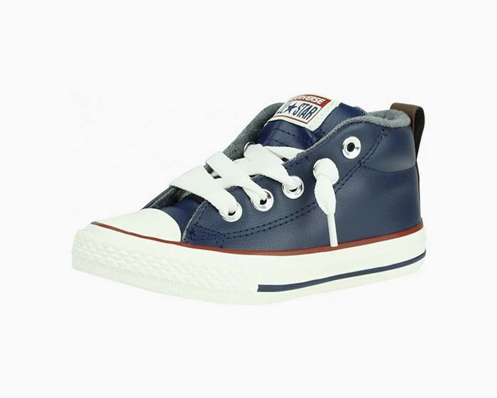 Converse Navy Leather All-Star Street Mid Boys Junior Trainers, NIB