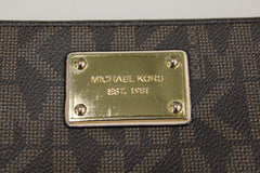 Michael Kors Brown Logo Zip-Around Clutch Wallet NWOT