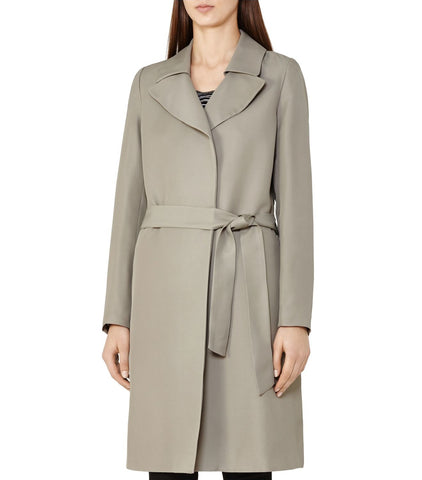 Reiss Women's Stone Dafne Mac Wrap Trench Coat, Size US 8