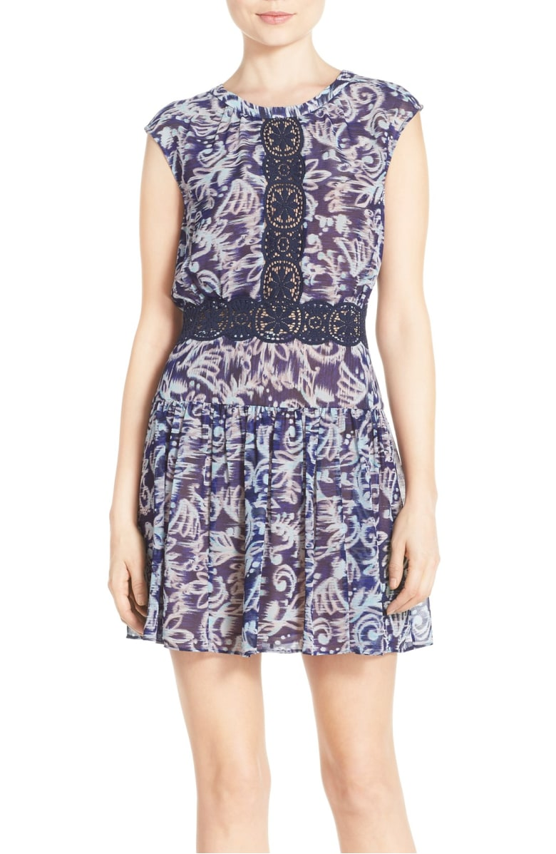 BCBGMaxAzria Women's Amyeline Mixed Print Short Sleeve Dress, Royal Blue Combo, Size 4