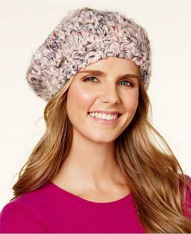 Steve Madden Women's Blush Chunky Confetti Knit Beret Hat, One Size Fits All