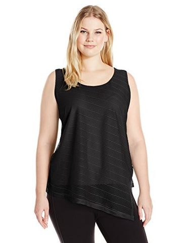 Calvin Klein Women's S/l Sheer Stripe Top, Black, S