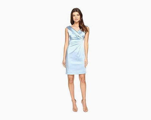Tahari by ASL Women's Stretch Satin Sheath Dress with Side Ruche Sky Blue Dress