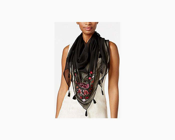 I.N.C. Women's Floral Embroidered Triangle Scarf