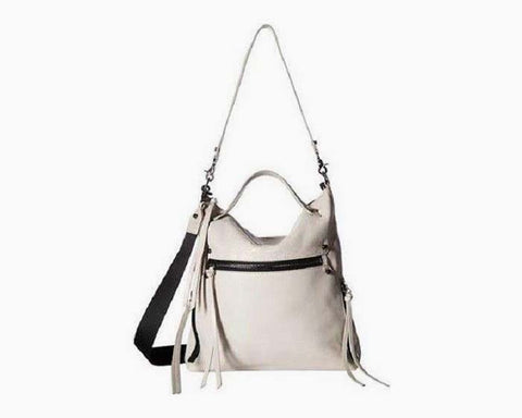 Botkier White Ivory Leather Logan Hobo Zip Top Shoulder Bag Purse