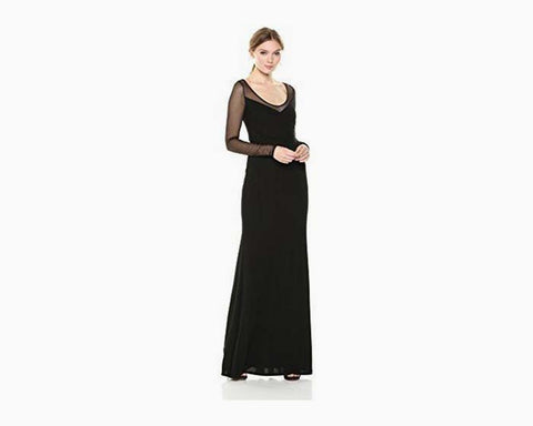 Vera Wang Women's Long Gown With Sheer Sleeves, Black, 12
