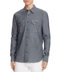 Jean Shop Men's Kevin Dark Chambray Blue Button-Down Shirt, Size M
