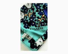 Coach Women's Blue/Green/Teal Yankee Floral Oblong Scarf