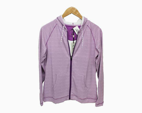 Peter Millar Women's Full Zip Stretch Hooded Performance Jacket - Purple/White