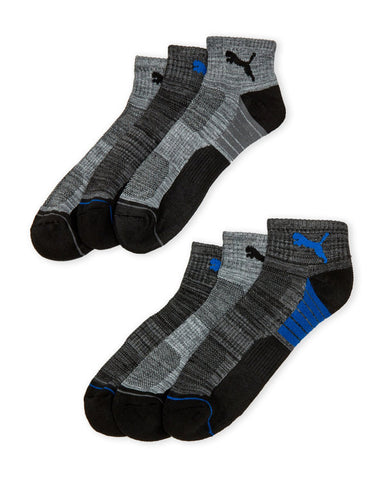 PUMA Men's Black/Blue 6-Pack Cushioned Quarter Crew Socks, Size 6-12