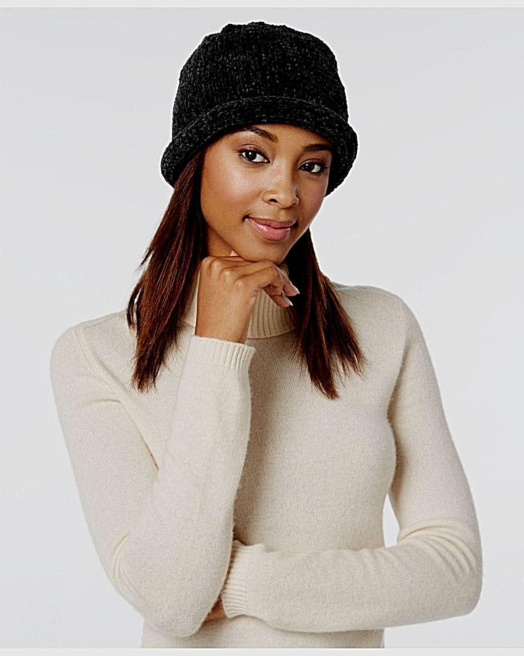 August Hat Company Women's Black Crochet Classic Chenille Roll-Up Hat