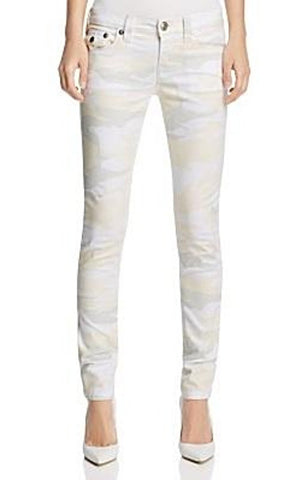 True Religion Women's Camo Print Skinny Jeans in Winter White, Size 24