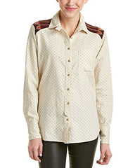 Free People Womens Knit Back Printed Button-Down Top Ivory XS