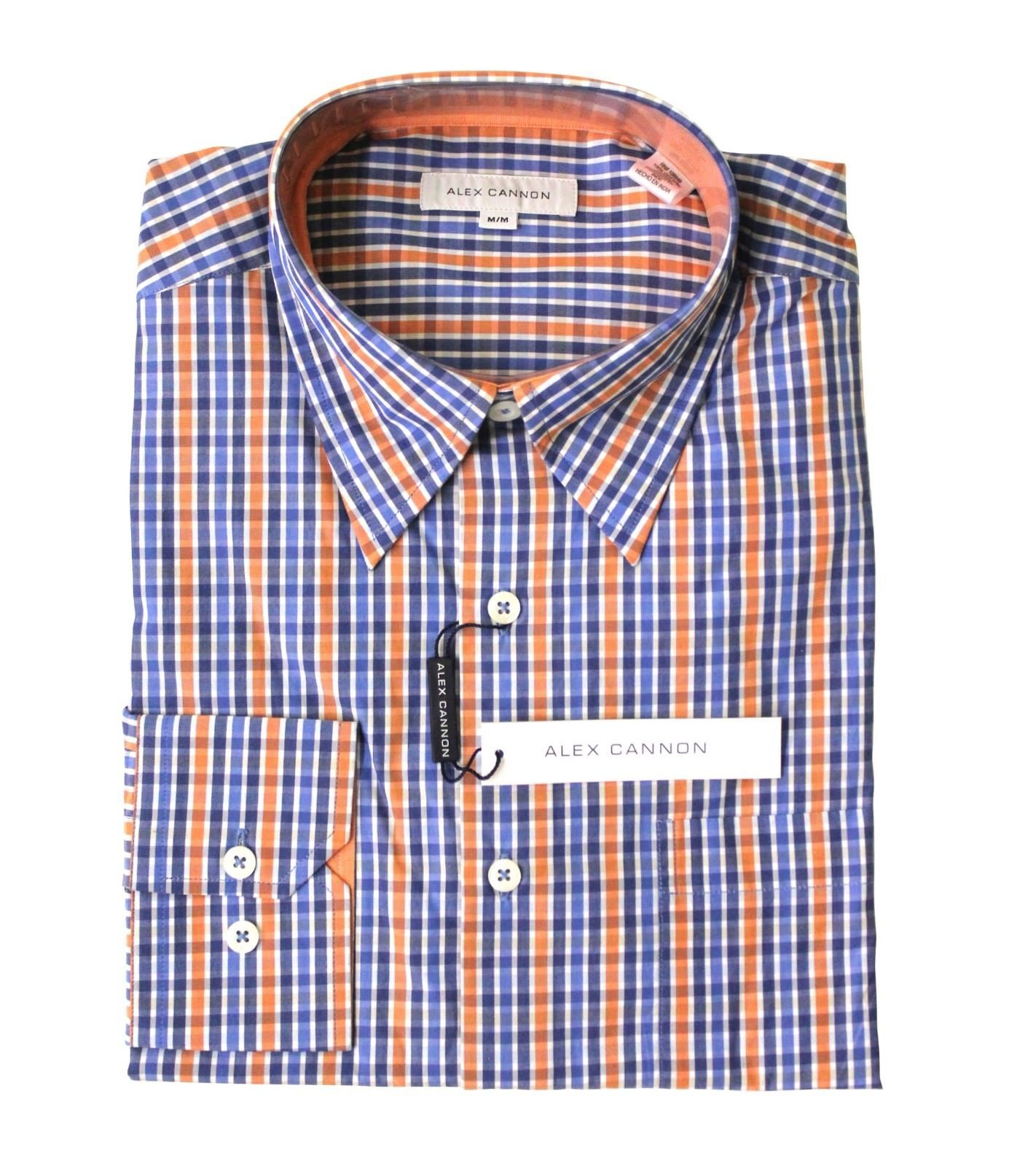 Alex Cannon Men's Dress Shirt, Blue & Orange Stripes, NWT