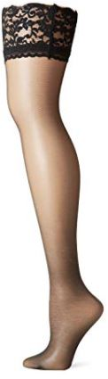 Berkshire BLACK Romantic Lace Top Thigh High Pantyhose, 2-Pack, Size C-D