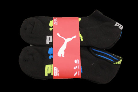 Puma Men's 6 Pack Quarter-Crew Sport Socks, Black/Blue, Sock Size 10-13