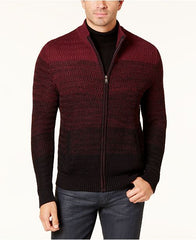 Alfani Men's Burgundy Ombré Full-Zip Sweater, Size Large