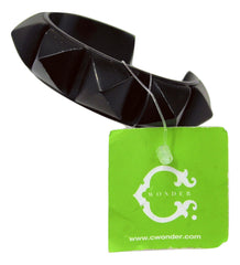 C Wonder Dome Pyramid Stud Cuff Bracelet, Black
