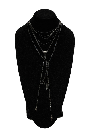 Free People Midnight Crystal Matinee Necklace w/ Drops