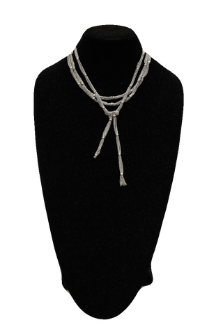 Free People Silver Multi Strand Matinee Necklace